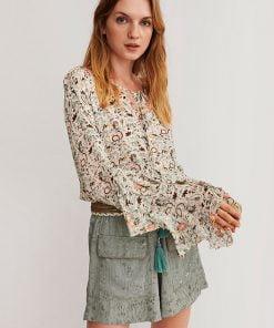 Blusa estampada floral con bordado